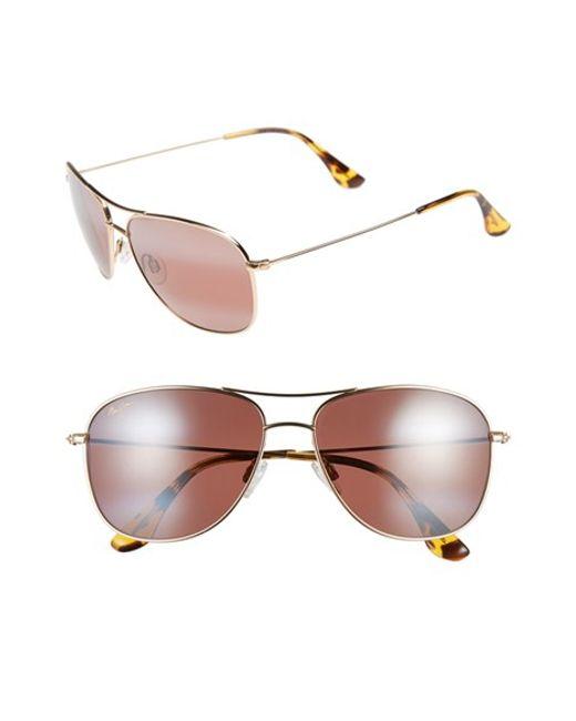 Maui Jim | Metallic Cliff House 59mm Polarizedplus2 Metal Aviator Sunglasses | Lyst