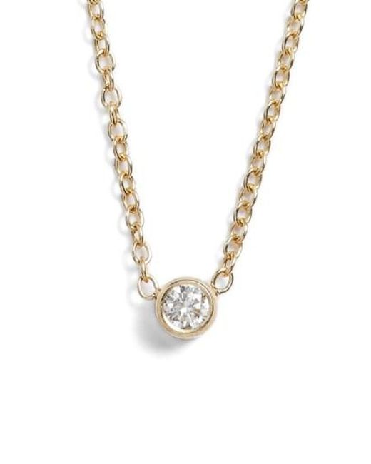 Zoe Chicco   Metallic Diamond Bezel Pendant Necklace   Lyst