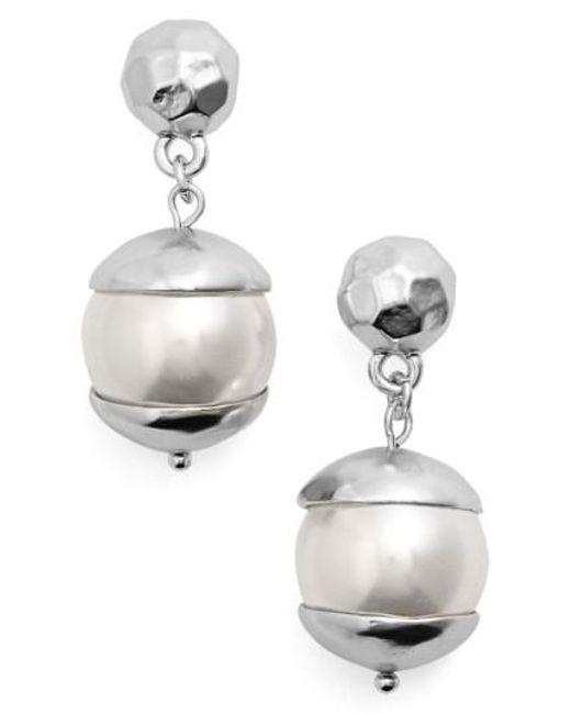 Karine Sultan   Metallic Imitation Pearl Drop Earrings   Lyst