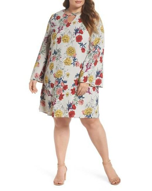 Glamorous - Multicolor Print Bell Sleeve Shift Dress - Lyst