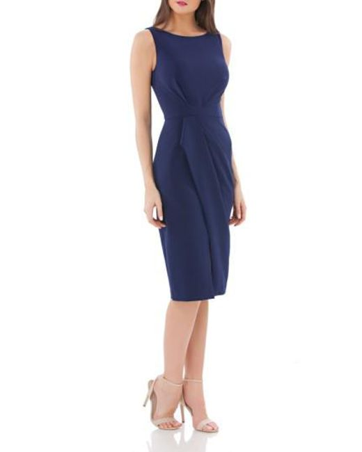JS Collections - Blue Pleated Crepe Cocktail Dress - Lyst