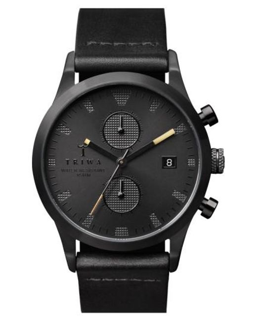 Triwa | 'sort Of Black' Chronograph Leather Strap Watch for Men | Lyst