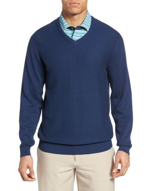 Bobby Jones | Blue Pique Jersey V-neck Sweater for Men | Lyst