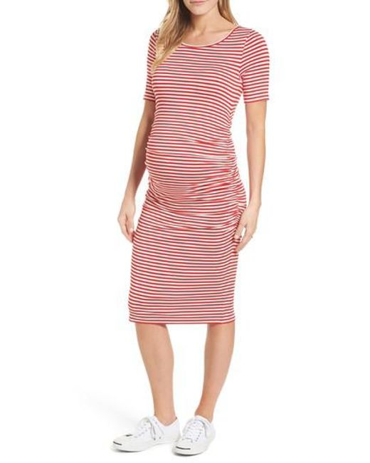 Isabella Oliver - Red Jenna Stripe Maternity T-shirt Dress - Lyst
