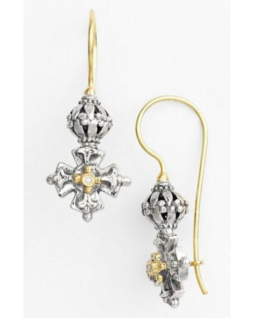 Konstantino - Metallic 'classics' Diamond Maltese Cross Drop Earrings - Lyst