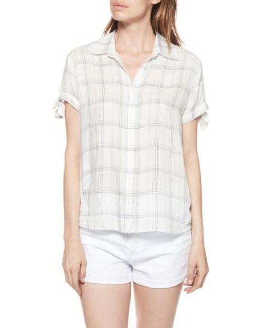 PAIGE - White Avery Plaid Shirt - Lyst