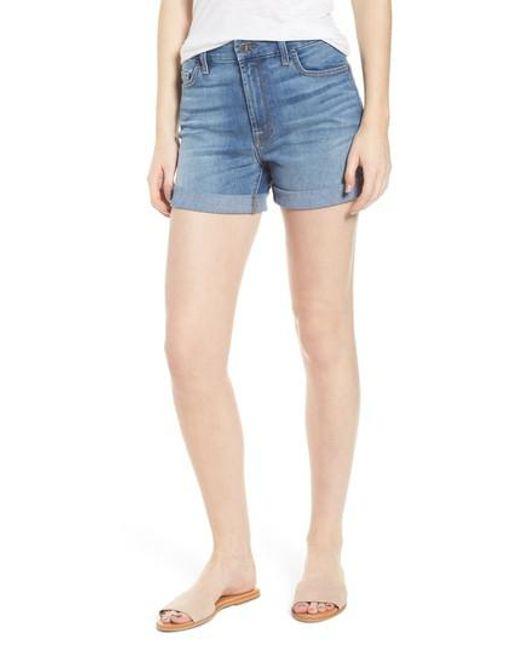 Jen7 - Blue Roll Up Denim Shorts - Lyst