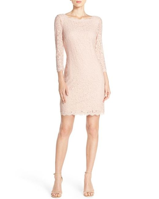 Adrianna Papell | Pink Lace Overlay Sheath Dress | Lyst