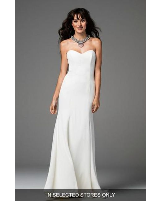Lyst - Willowby Caspia Strapless Georgette Fit & Flare Gown in White