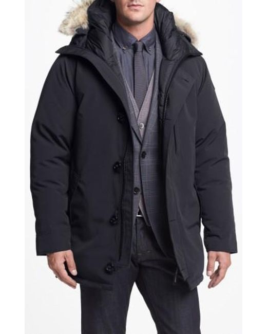 Canada Goose | Gray 'chateau' Slim Fit Genuine Coyote Fur Trim Jacket for Men | Lyst