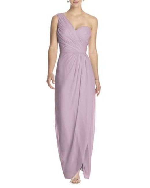 Dessy Collection | Purple One-shoulder Draped Chiffon Gown | Lyst