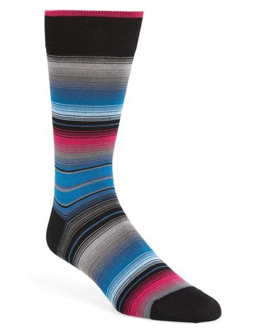 Bugatchi - Black Stripe Socks for Men - Lyst