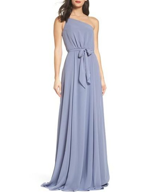 Amsale - Blue One-shoulder Chiffon A-line Gown - Lyst