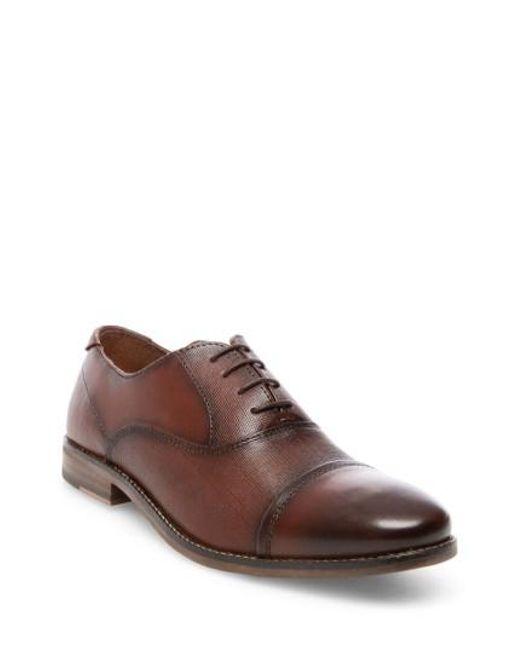 Steve Madden | Brown Finnich Textured Cap Toe Oxford for Men | Lyst