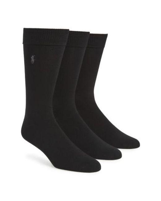Polo Ralph Lauren | Natural Assorted 3-pack Supersoft Socks, Black for Men | Lyst