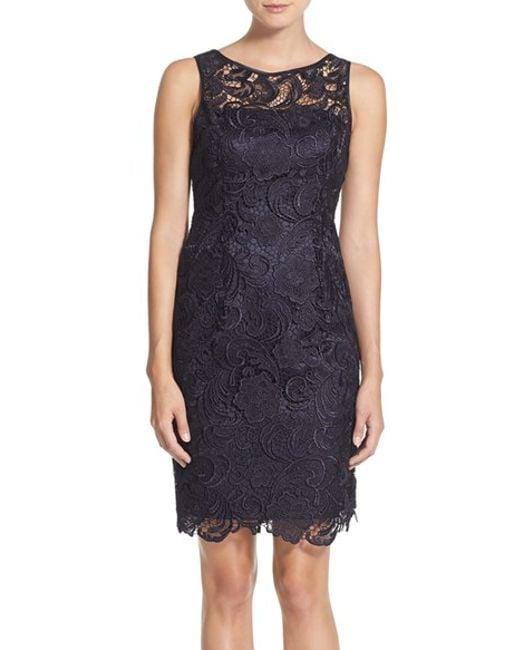 Adrianna Papell | Blue Illusion Bodice Lace Sheath Dress | Lyst