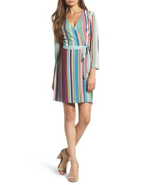 Charles Henry | Blue Wrap Minidress | Lyst
