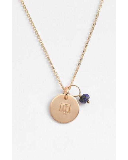Nashelle | Metallic 14k-gold Fill & Semiprecious Birthstone Zodiac Mini Disc Necklace | Lyst