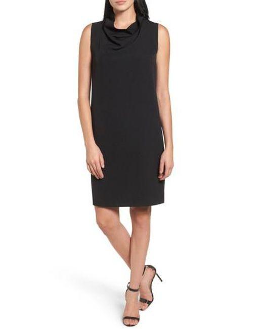 Anne Klein | Black Cowl Neck Sheath Dress | Lyst