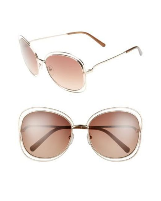 Chloé | Brown Carlina 60mm Gradient Les Sunglasses | Lyst