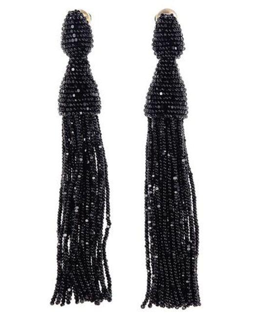 Oscar de la Renta | Black Long Tassel Drop Earrings | Lyst