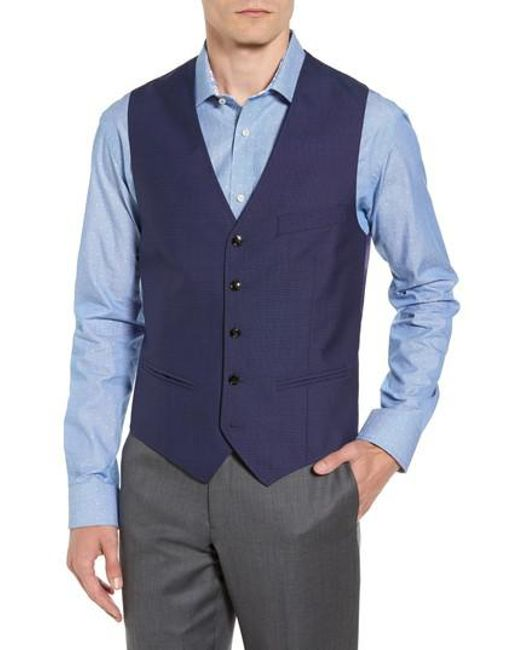 Ted Baker | Blue Troy Trim Fit Solid Wool Vest for Men | Lyst