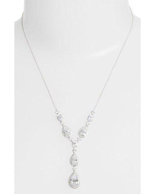 Nadri - Metallic Cubic Zirconia Y-necklace - Lyst