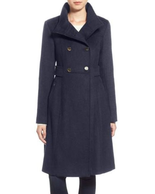 Eliza J | Blue Wool Blend Long Military Coat | Lyst