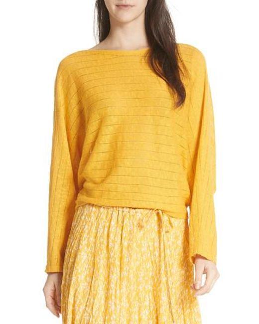 Joie - Yellow Ramie Cotton Sweater - Lyst