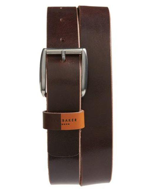 Ted Baker - Brown Quica Leather Belt for Men - Lyst