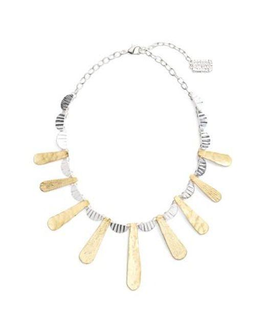 Karine Sultan | Metallic Hammered Collar Necklace | Lyst