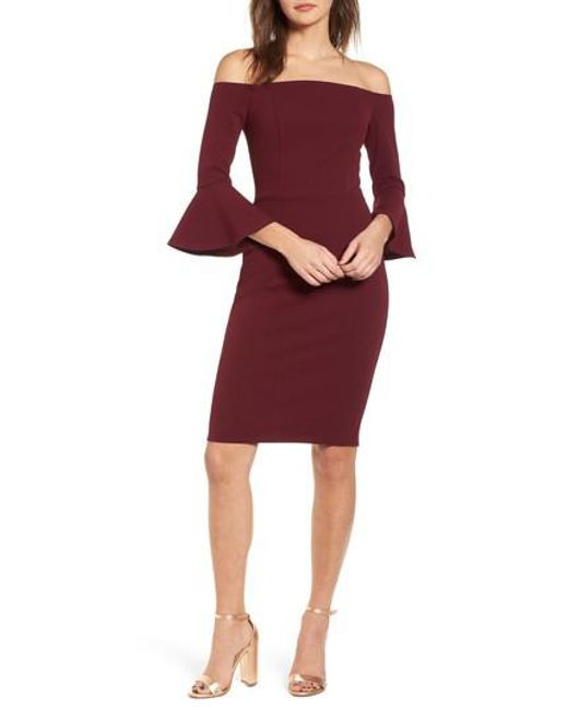 Soprano - Red Flare Sleeve Off The Shoulder Dress - Lyst