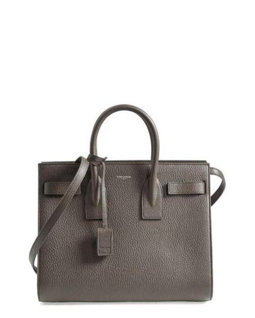 Saint Laurent | Gray 'small Sac De Jour' Grained Leather Tote | Lyst