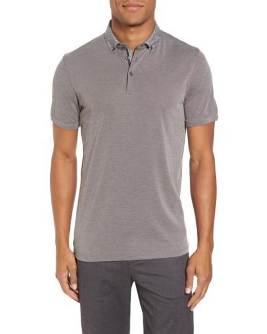 Ted Baker | Gray Osborn Woven Collar Polo for Men | Lyst