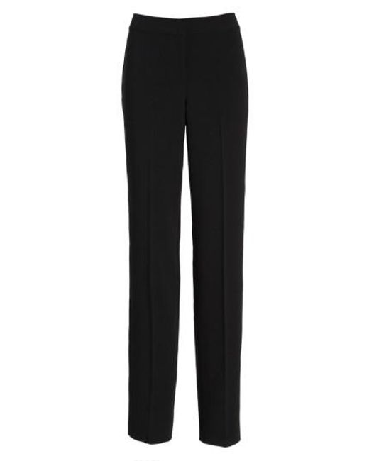 St. John | Black 'diana' Straight Leg Crepe Marocain Pants | Lyst