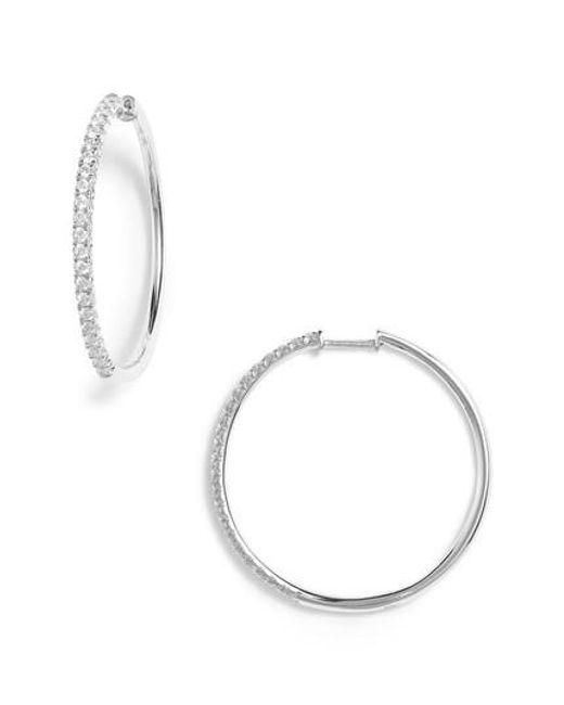 Bony Levy | Metallic Kiera French Cut Diamond Hoop Earrings (nordstrom Exclusive) | Lyst