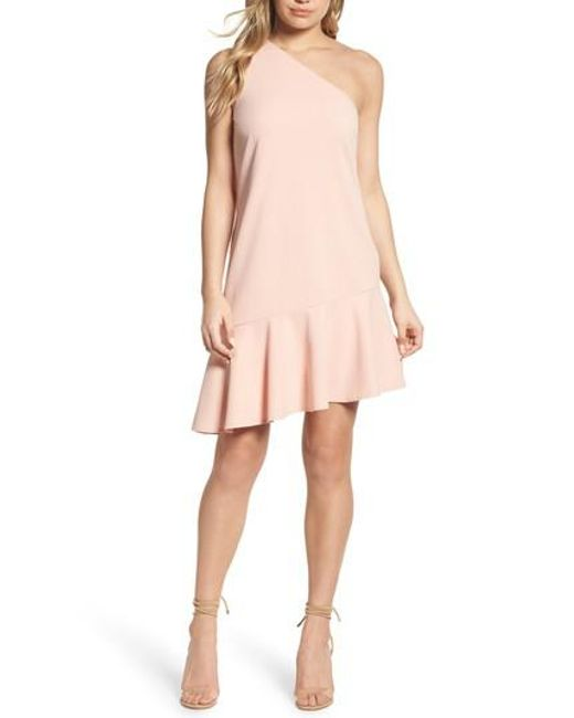 Charles Henry | Pink One-shoulder Ruffle Dress | Lyst
