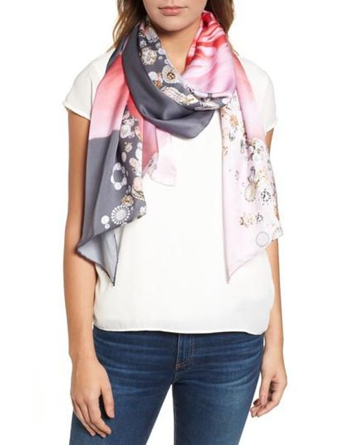 Ted Baker - Gray Blenheim Jewels Long Silk Scarf - Lyst