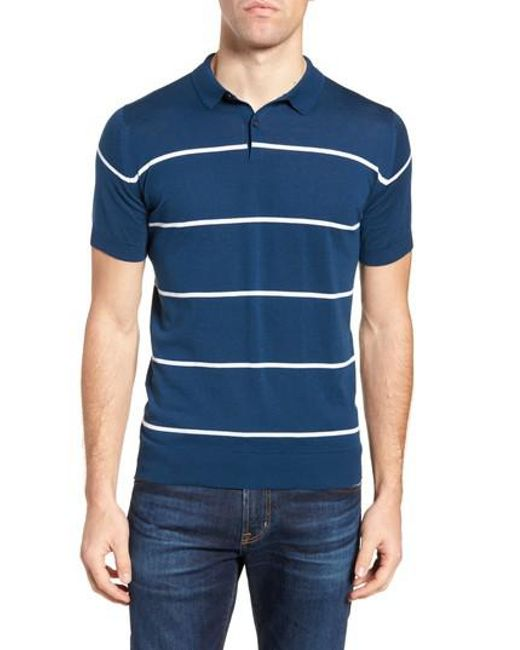 John Smedley - Blue Stripe Jersey Polo for Men - Lyst
