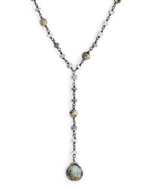 Ela Rae | Metallic Yaelia Semiprecious Y-necklace | Lyst
