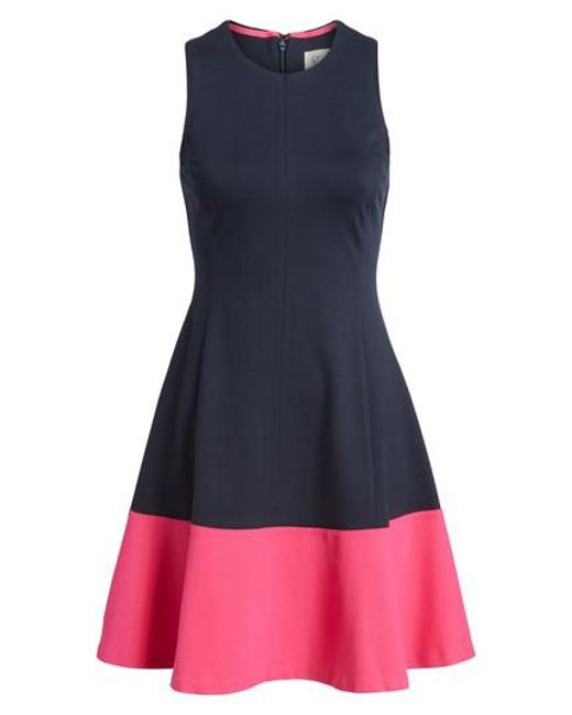 Eliza J | Black Colorblock Hem Fit & Flare Dress | Lyst