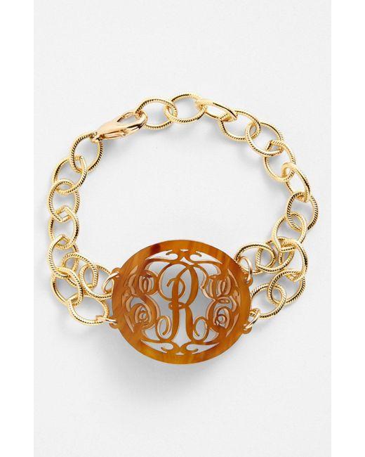 Moon & Lola - Brown 'annabel' Medium Oval Personalized Monogram Bracelet (nordstrom Exclusive) - Lyst