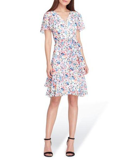 Tahari - White Floral Chiffon Faux Wrap Dress - Lyst