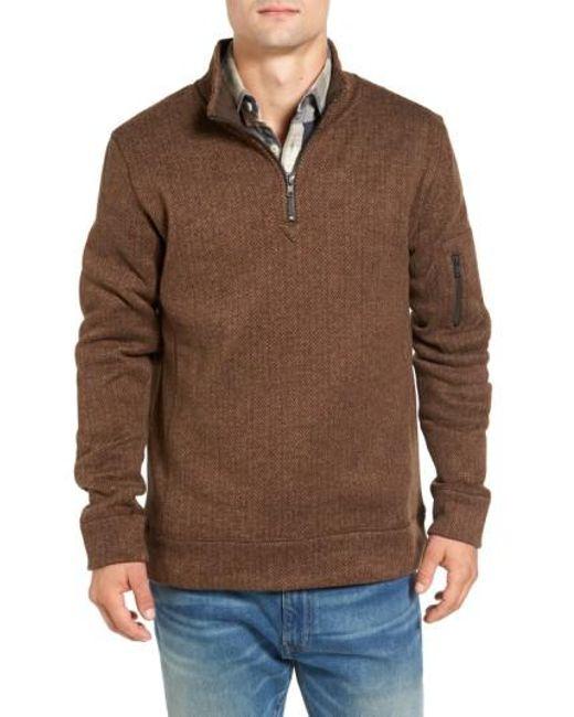 Jeremiah   Brown Lance Herringbone Zip Mock Neck Sweater for Men   Lyst