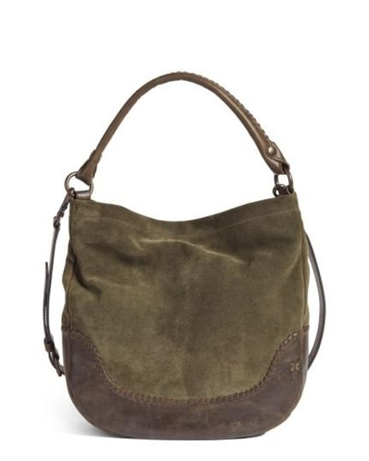 Frye | Gray Melissa Suede & Whipstitch Leather Hobo | Lyst
