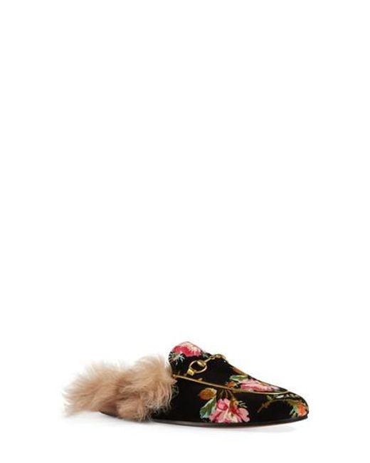 Gucci Women's Princetown Floral Genuine Shearling Trim Mule kSE3cWqr