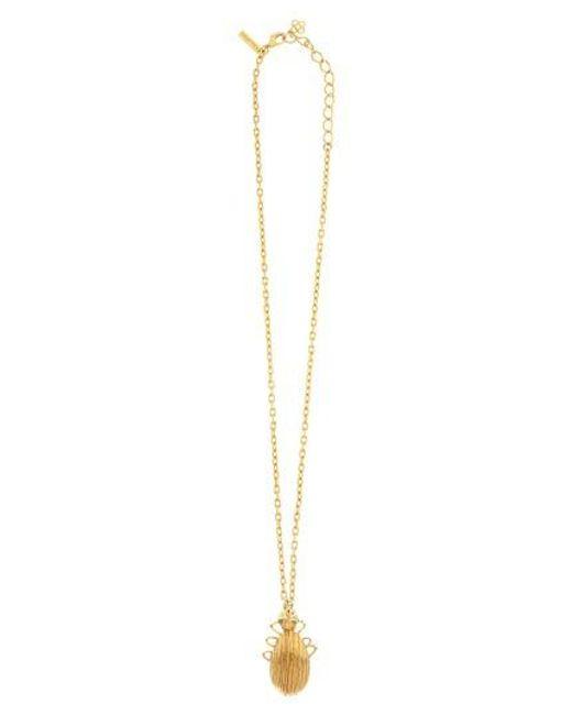 Oscar de la Renta | Metallic Scarab Pendant Necklace | Lyst