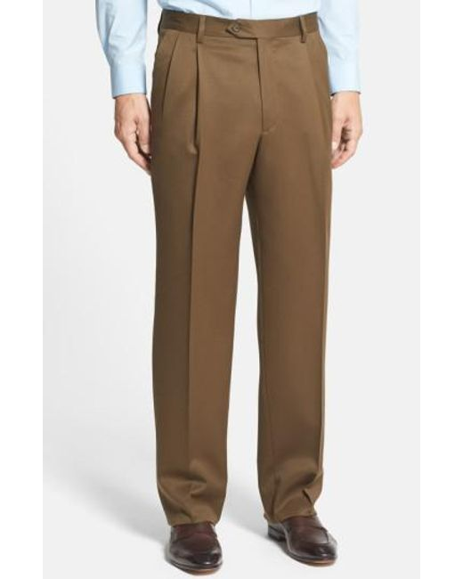 Berle - Brown Pleated Wool Gabardine Trousers for Men - Lyst
