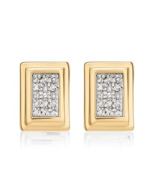 Monica Vinader | Metallic Baja Deco Diamond Stud Earrings | Lyst