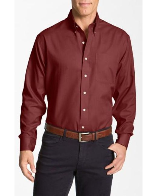 Cutter & Buck | Red 'nailshead - Epic Easy Care' Classic Fit Sport Shirt for Men | Lyst